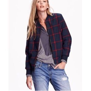 NWT Old Navy Wool Plaid Bomber Jacket Small